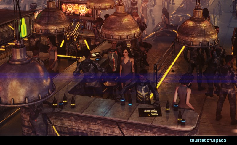 The busy, industrial-looking bar is filled with a mixture of pilots, technical personnel, and traders.