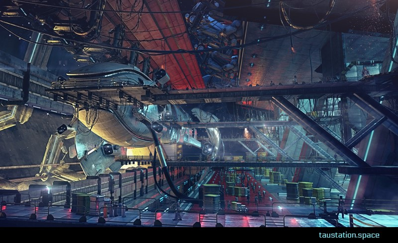The port shows a large, sleek spaceship docked and ready to take in cargo. Welding sparks glow in the air as repair crews work their magic.