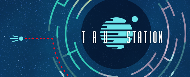 Tau Station's logo. The words Tau Station are written in white lettering over an image of a planet with a small moon orbiting it, set against a field of stars. In this picture, the logo is set inside a circular maze.