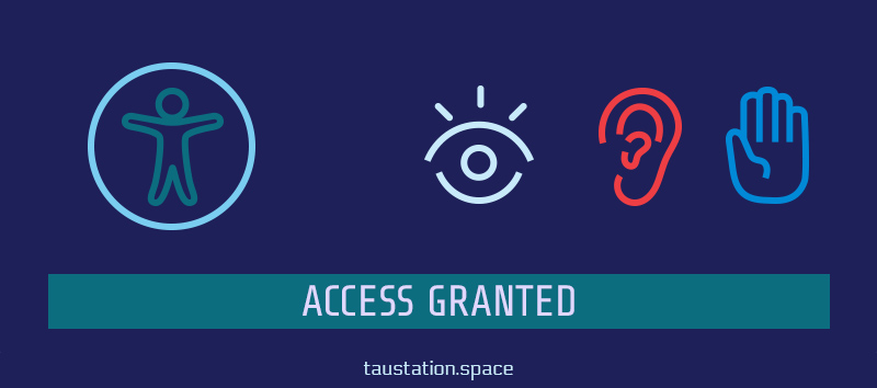 "Apple's 'universal access' symbol, an eye, ear and hand symbol, representing different types of disabilities. A banner below titled ""Access Granted""."