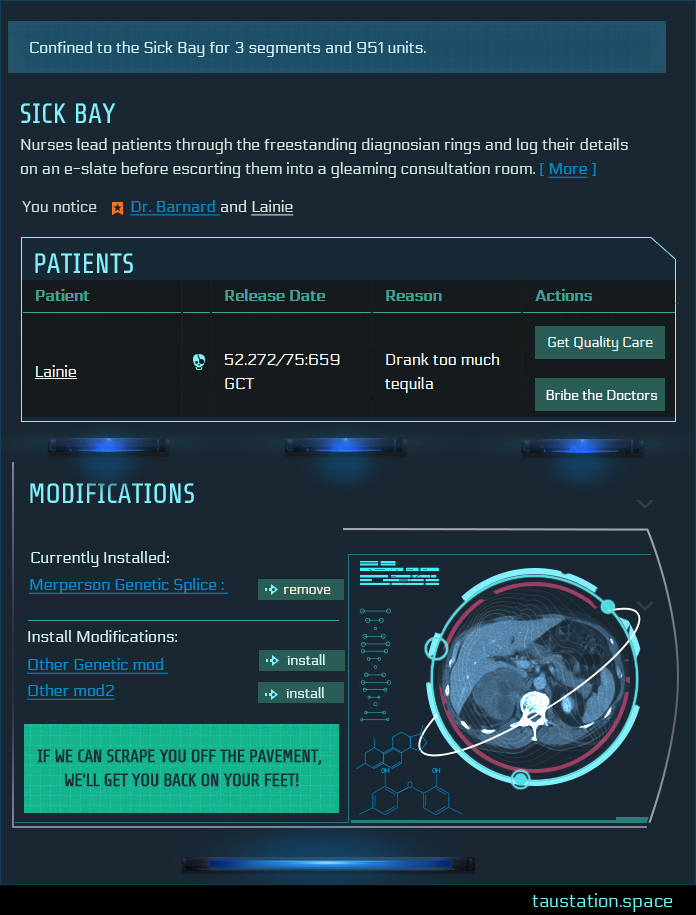The desktop version of the Sickbay screen. The image shows a description of the area, a patient confined, and the actions that they can take in the room.