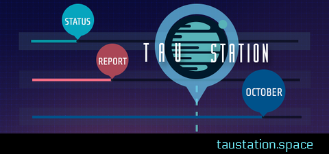 "Tau Station's game logo and the words ""status"" ""report"" and ""October"" are shown in circles, each at the end of a horizontal progress bar."