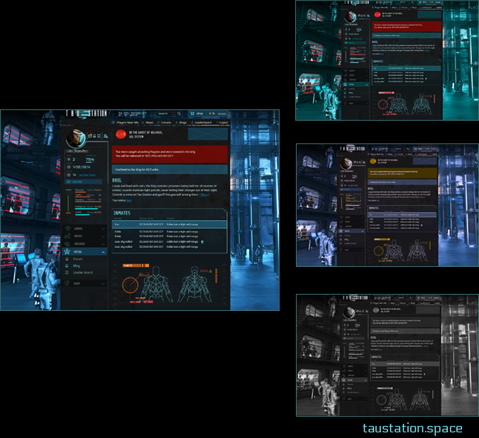 A group of four screenshots demonstrating how Tau Station's user interface would look to users with different types of color blindness.