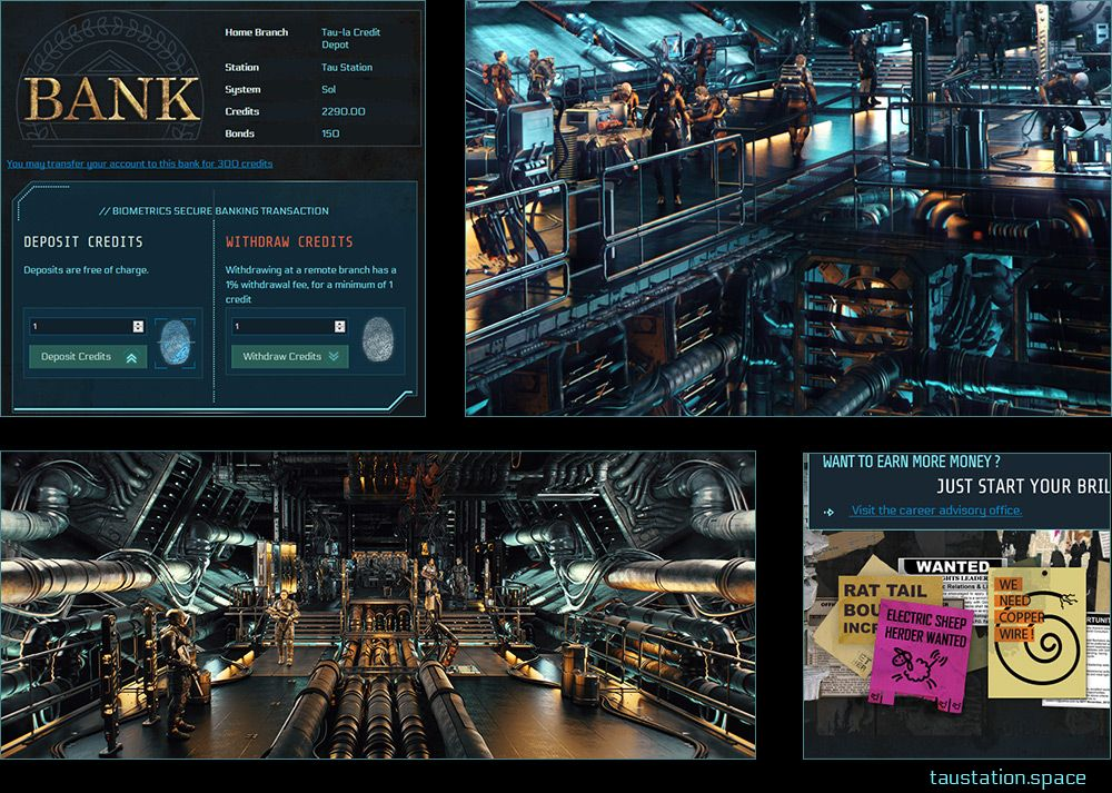 A group of four screenshots: a picture of the bank area's user interface, two illustrations of people walking through a space station, and a close-up posters advertising work in the employment center.