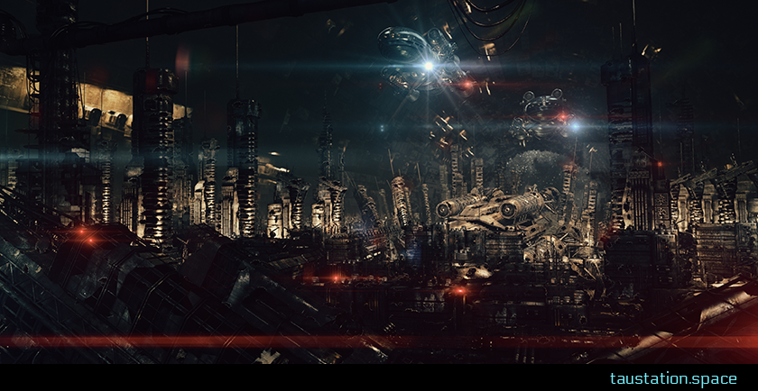 Illustration of the Ruins area on a space station. The wreckage of a spaceship lies amid damaged and collapses housing towers.