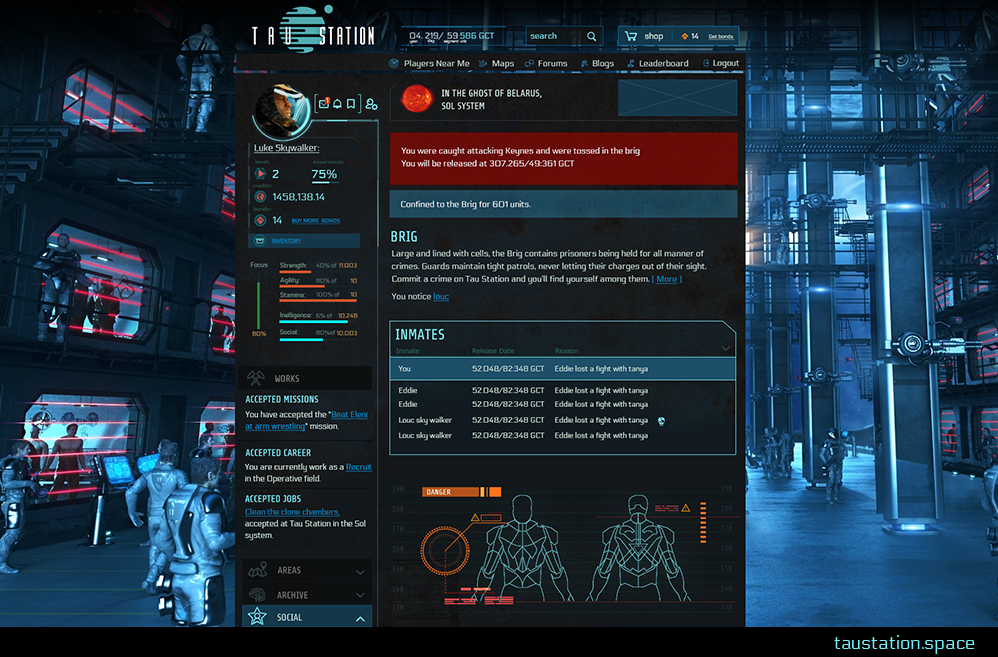 A screen shot of the Brig's user interface, set against background art of prisoners in cells.
