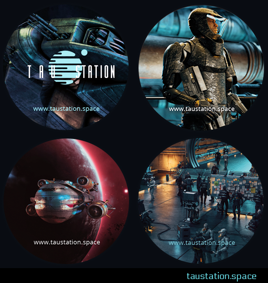 A collection of four circular stickers featuring art from the game. The first is the Tau Station logo against a background of machinery. The second is a close up of a man wearing high-tech armor and holding a gun. The third is a view of a spaceship in flight, with a planet in the background. The fourth shows an employment center on a space station, with people looking at a bulletin board covered in job postings.