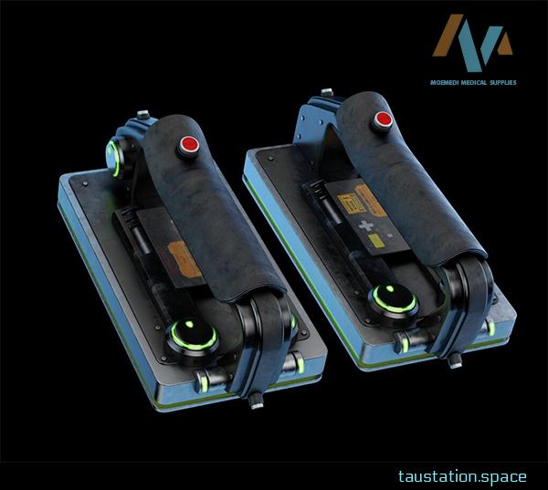 3D rendered concept art of a futuristic, high-tech defibrillator.