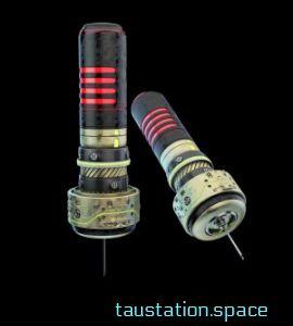 3D rendered image of a futuristic syringe.