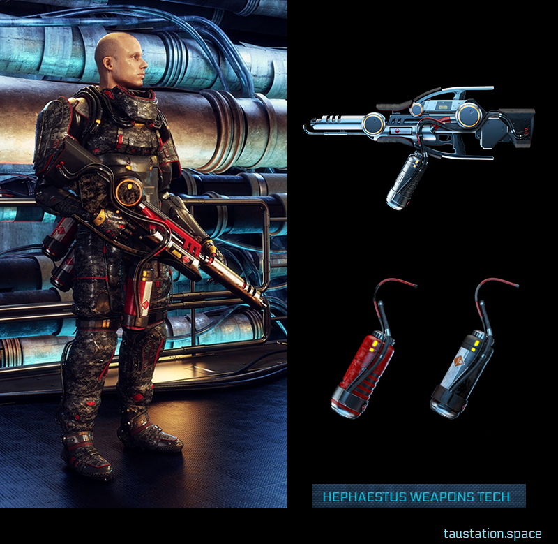3D rendered concept art of a soldier in futuristic armor carrying a flamethrower. To the right is a close up of another flamethrower and two fuel canisters.