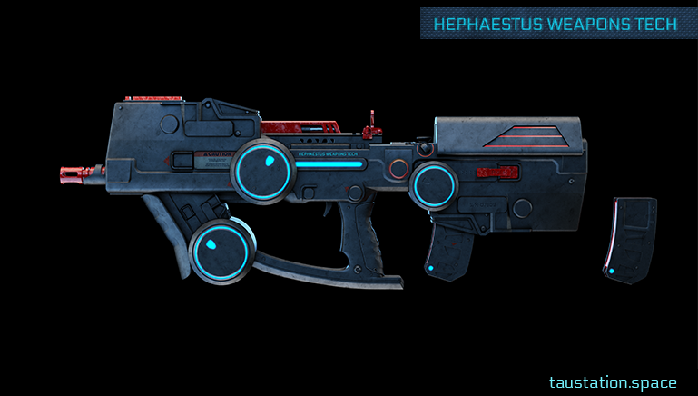 3D rendered concept art of a futuristic, high-tech assault rifle and a spare magazine.