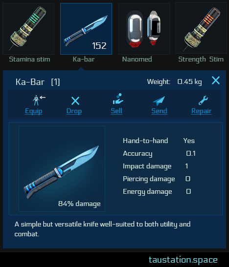 "A detailed view of an inventory item, showing a ""Ka-Bar"" knife (""A simple but versatile knife, well-suited to both utility and combat""), its details, and the actions that can be performed on it (equip, drop, sell, send and repair)."