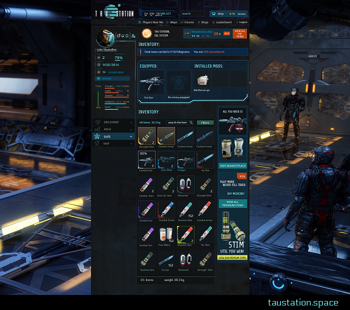"A screenshot of the open inventory, showing equipped items, installed mods, and carried items. An advertisement for stimulants says ""Stim until you win."""
