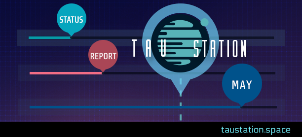 "Тau Station's game logo and the words ""status"" ""report"" and ""May"" are shown in circles, each at the end of a horizontal progress bar."