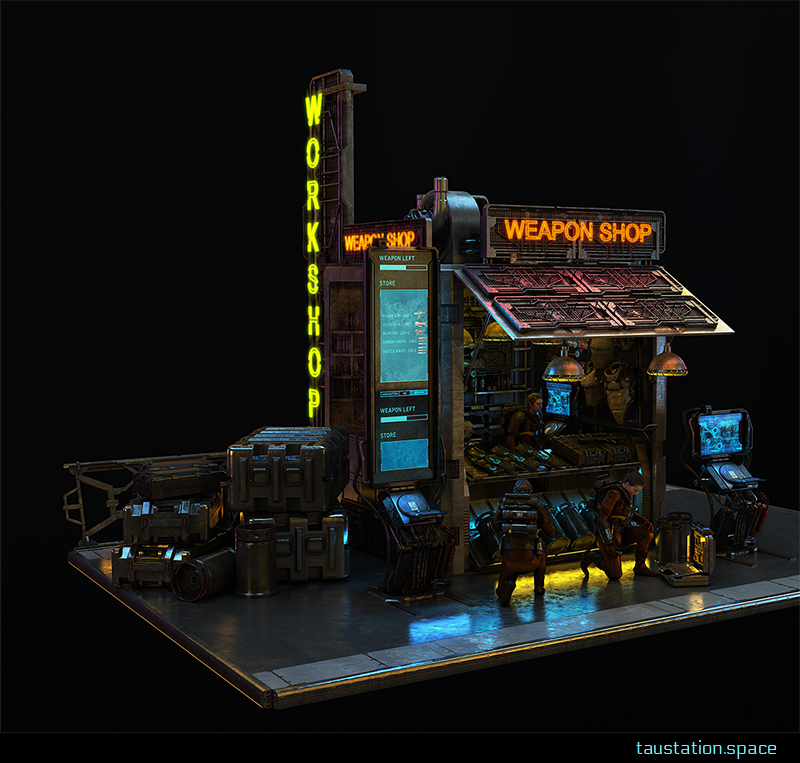 A shop with shiny neon lights indication that weapons are sold here. There are big crates on the left side of the shop and a huge display is connected to the vendor's booth. Two kneeling customers are having a look at the offers.