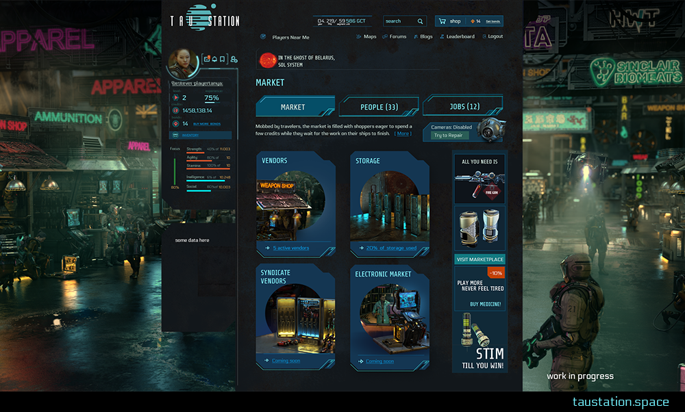 The first UI you see when entering the market offers 4 options: Visit regular Vendors, your Storage, Syndicate Vendors or the Electronic Market.