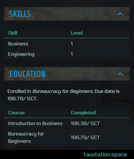 Character Page showing Education summary