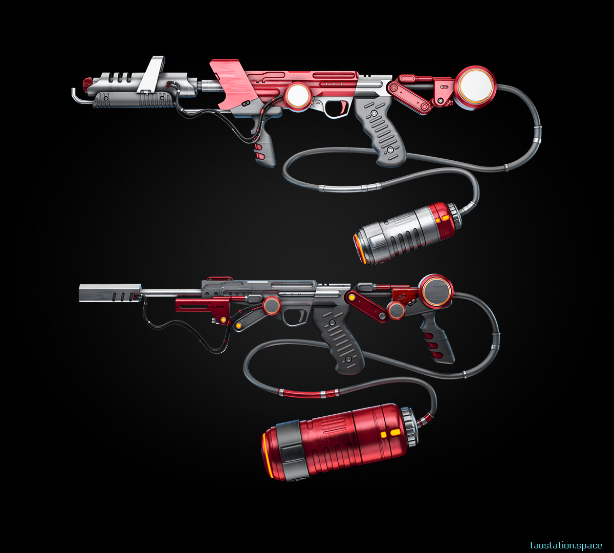 2 red flame throwers