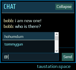 "Chat UI showing the autocomplete box when entering the ""@"" symbol"
