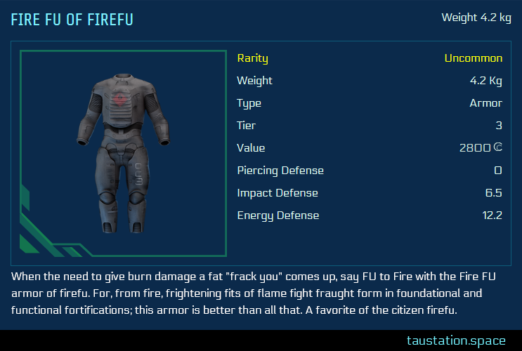 Detail view UI of the new item carrying firefu's name