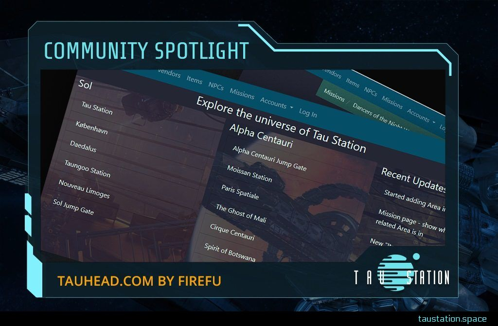 Community Spotlight frame - inside a screenshot of TauHead.com webpage