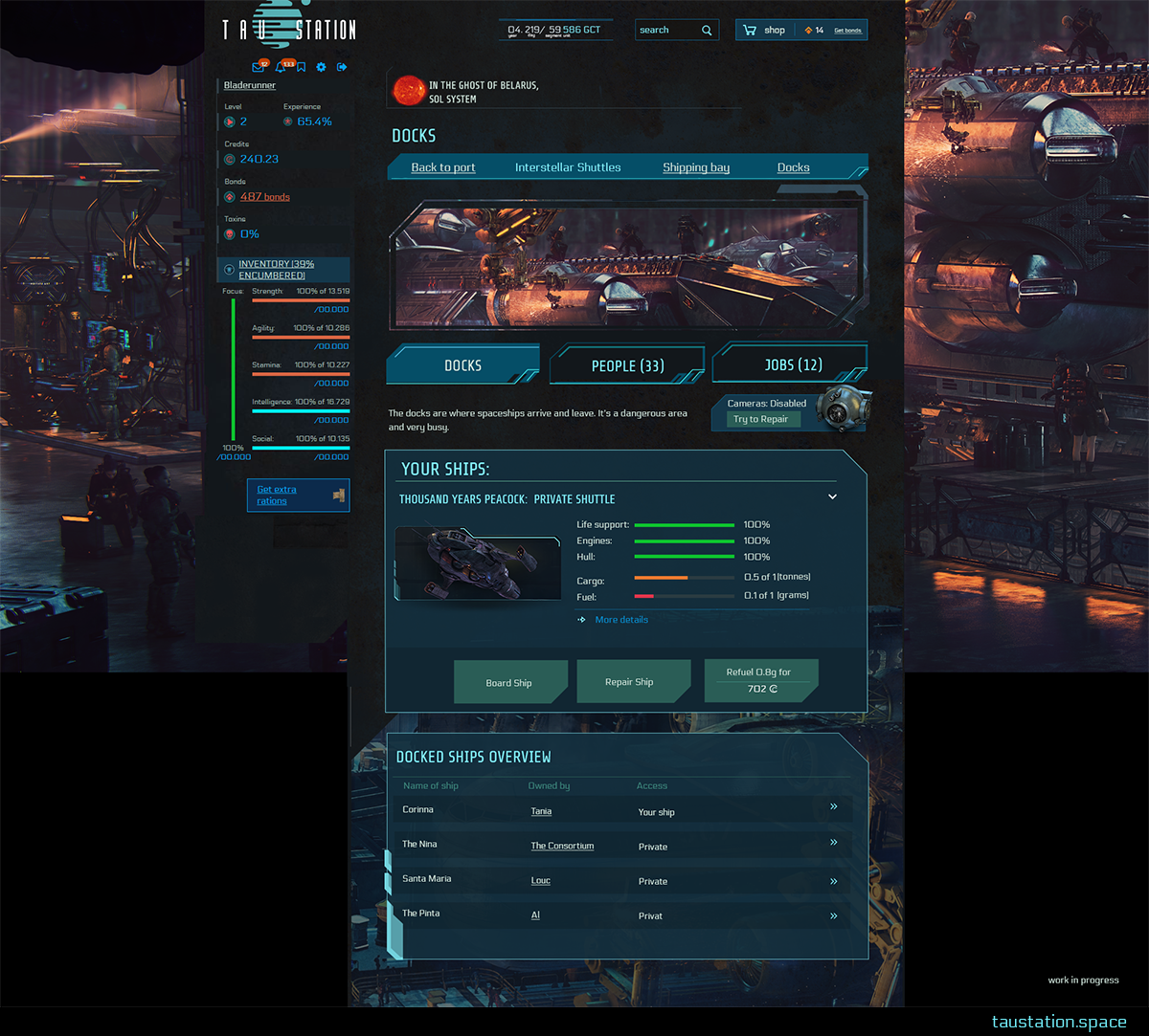The UI of the Docks: Details of your ship are shown, plus a list of all ships docked here at Daedalus station.