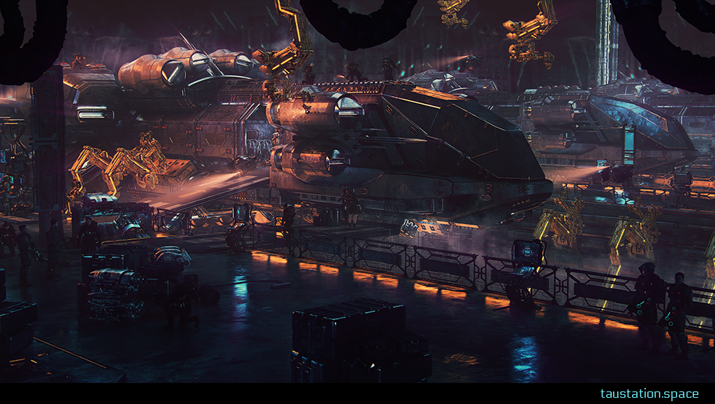 3D background artwork showing docked ships.
