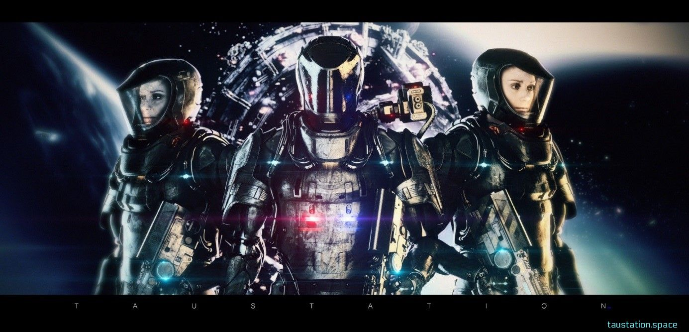 Three people in futuristic armor with a station in the background.