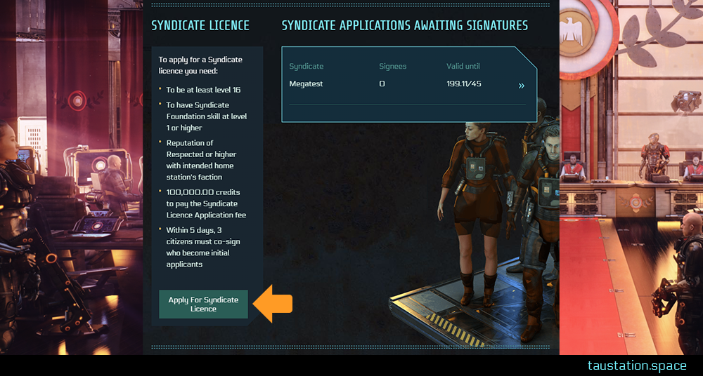 """UI at the Gov't Center, an arrow pointing at the button """"Apply for Syndicate Licence"""""""