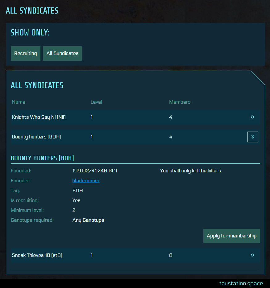 Syndicate list at CORETECHS. with 3 existing syndicates, the detail view of one union is shown/opened