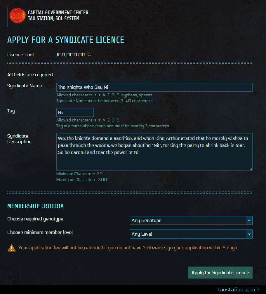 The detail screen when you apply for a syndicate licence in which you enter the name, tag, description