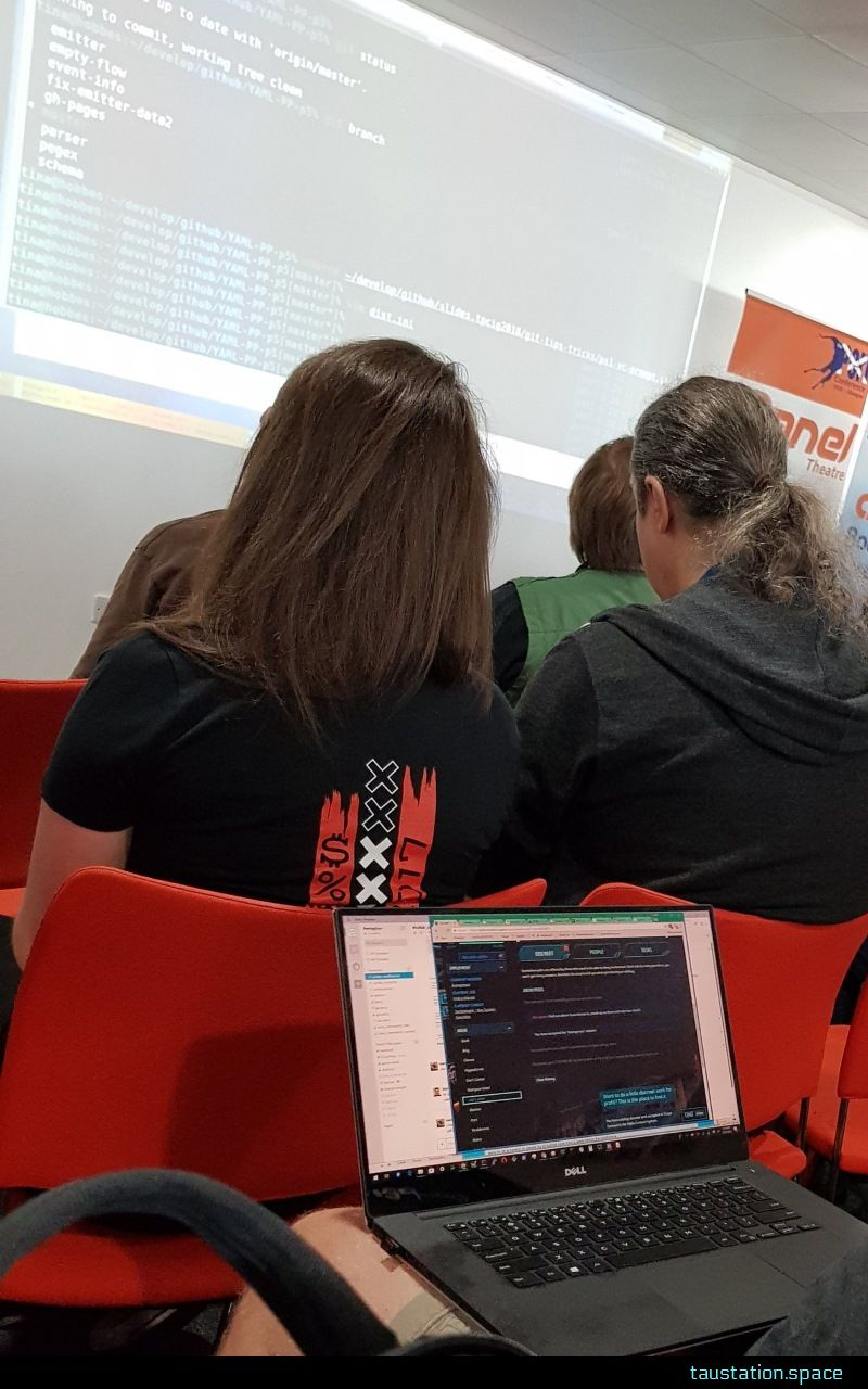 A photo taken during a presentation, the person sitting in front is playing Tau Station right now on his laptop.