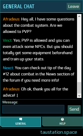 the new chat UI with multiple tabs: general, help, and syndicate in case of membership