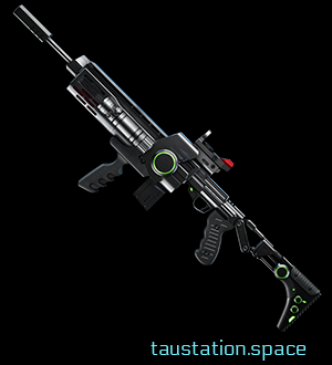 A black shot gun with green illuminated parts