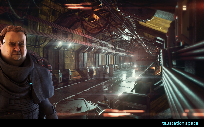 3D background artwork. On the left side, there is a big man wearing a brown cloth suit. He is standing in some kind of supply tunnel. Cables hang from ceiling and pipelines run up the walls. Next to the man stands a metal barrel and some gas bottles are scattered across a metal floor.