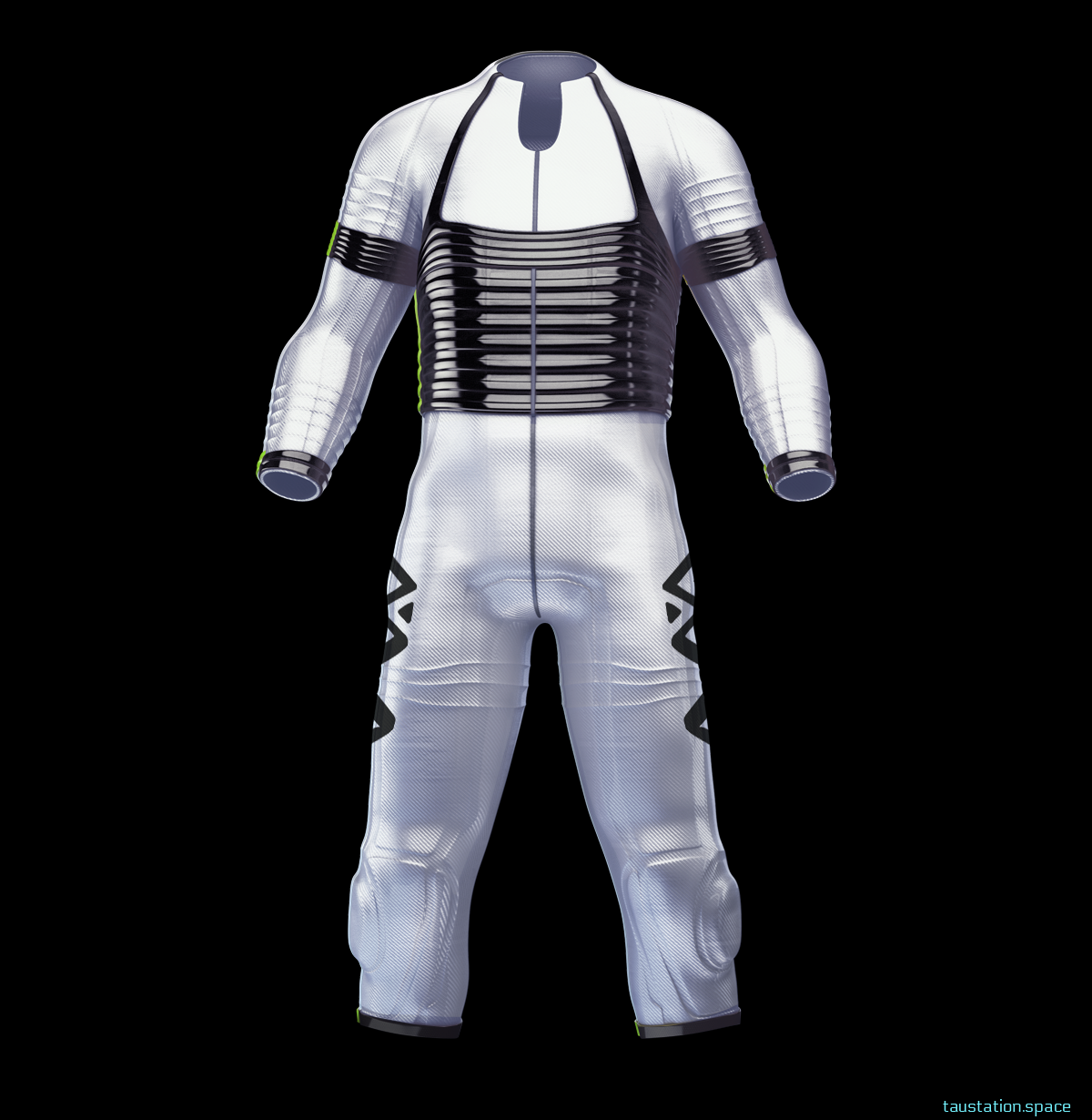 A very stylish white body suit, with solid brown chest guard elements, the cloth has a fine structure like carbon fibres.