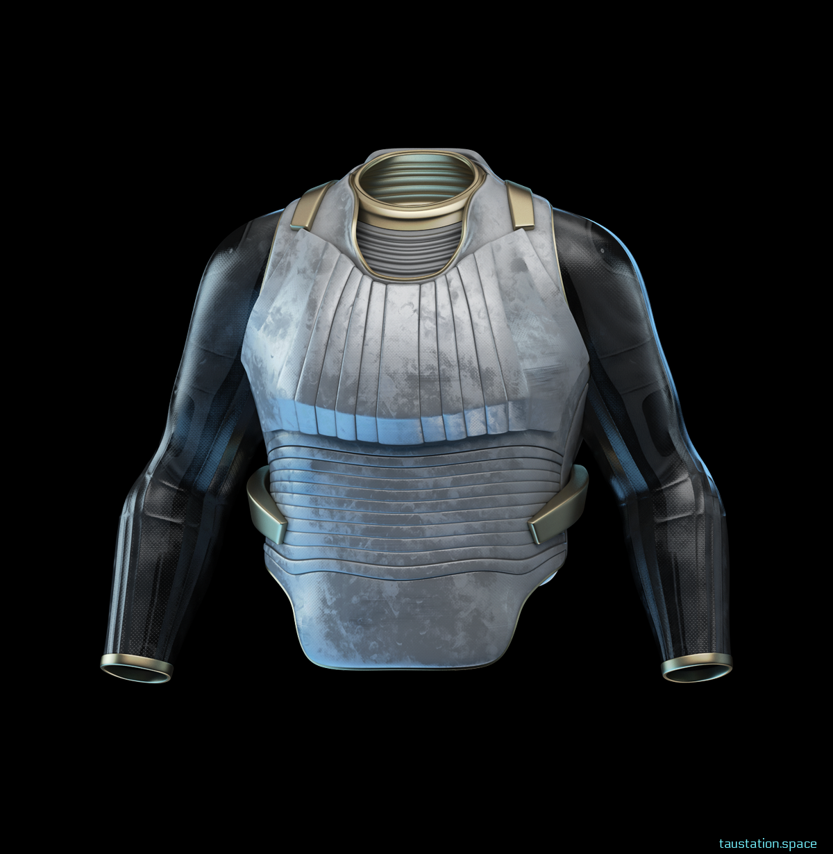A light grey metallic part with ripples is covering the torso and a a dark grey long sleeve is below. It shows some structure, eventually made of carbon fibers.