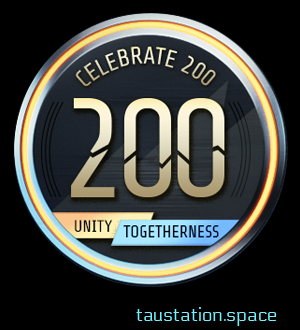 "A round metal coin, a golden frame and black surface. On top a golden text ""celebrate 200"" and a big golden ""200"" is shown in the middle. At the bottom A golden banner on the left side states ""Unity"", followed by a blue banner with ""Togetherness""."