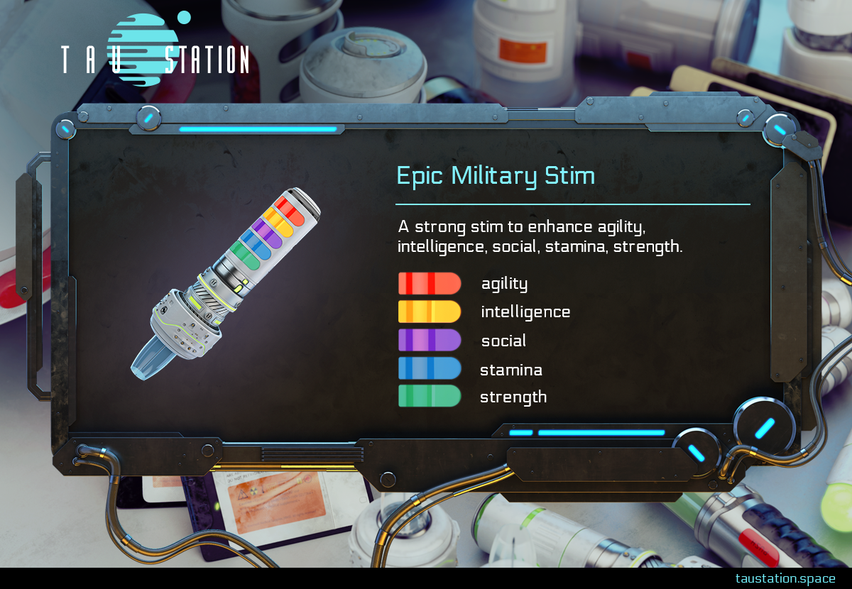 An epic Military Stim injection device with a handgrip and a needle inside a protective cap. 5 color stripes on the handhold indicate the stats that get (partly) replenished by using the consumable: red stands for agility, yellow for intelligence, purple for social, blue for stamina and green for strength.
