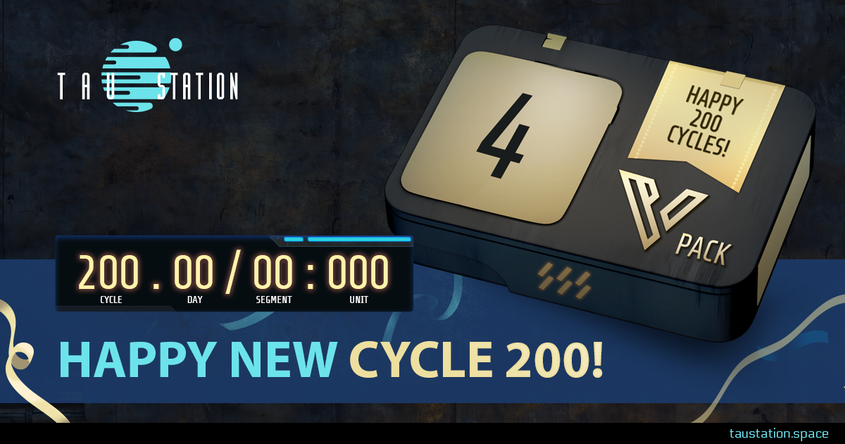 "On the right side, there is a big 4 Days VIP pack with a label stating ""Happy 200 Cycles"" A clock shows the Galactic Coordinated Time (GCT) of cycle 200, day 00, segment 00 and unit 000. Beneath the clock, a slogan ""Happy New Cycle 200!"""