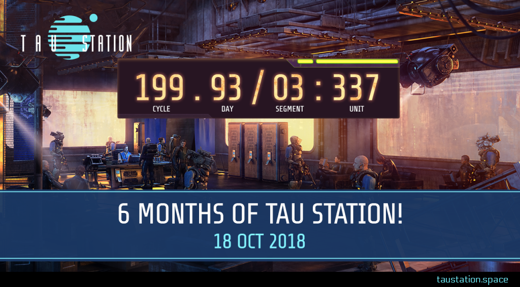 """A room with many citizens, armed guards and security cameras. A huge time display shows the GCT time of cycle 199, day 93, segment 03 and unit 337. Below is a banner stating """"6 months of Tau Station!"""", 18 Oct 2018."""