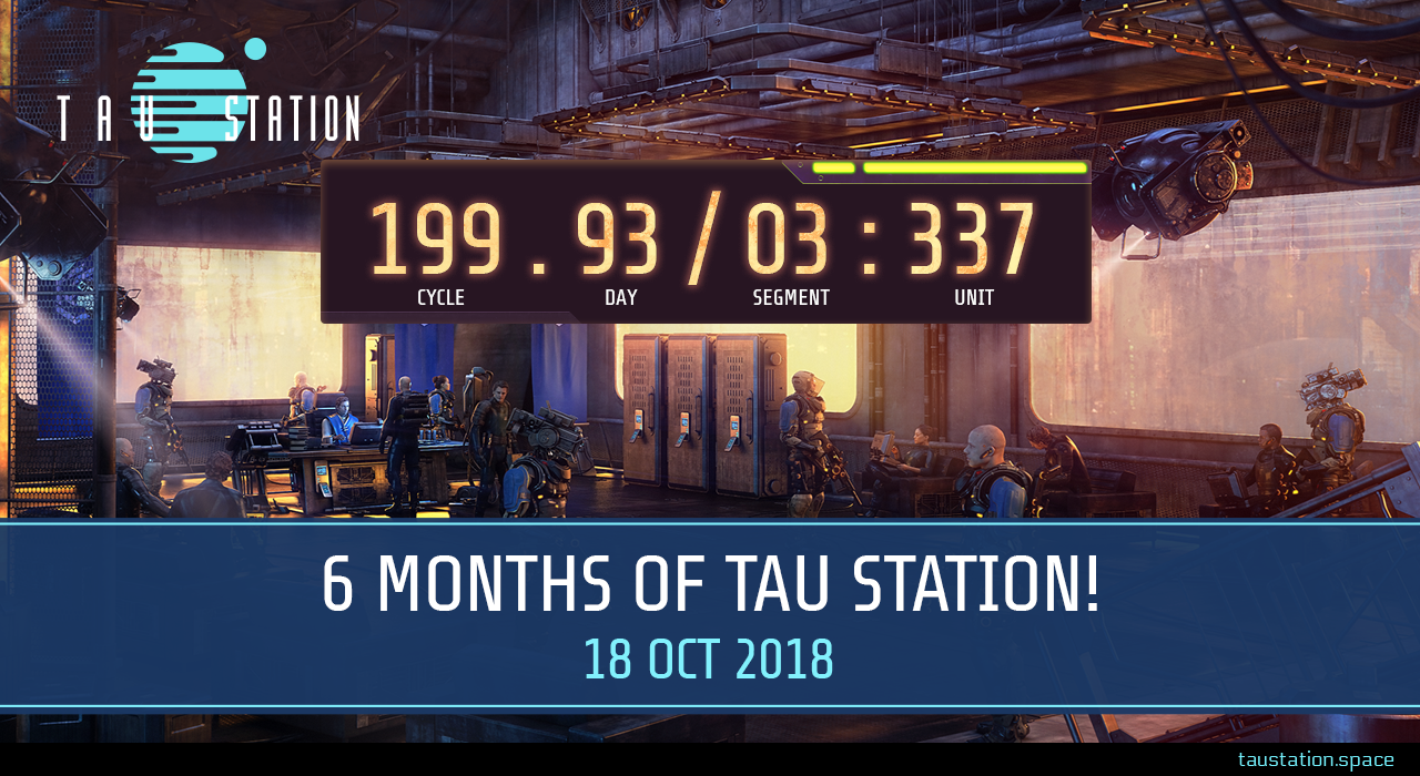 "A room with many citizens, armed guards and security cameras. A huge time display shows the GCT time of cycle 199, day 93, segment 03 and unit 337. Below is a banner stating ""6 months of Tau Station!"", 18 Oct 2018."