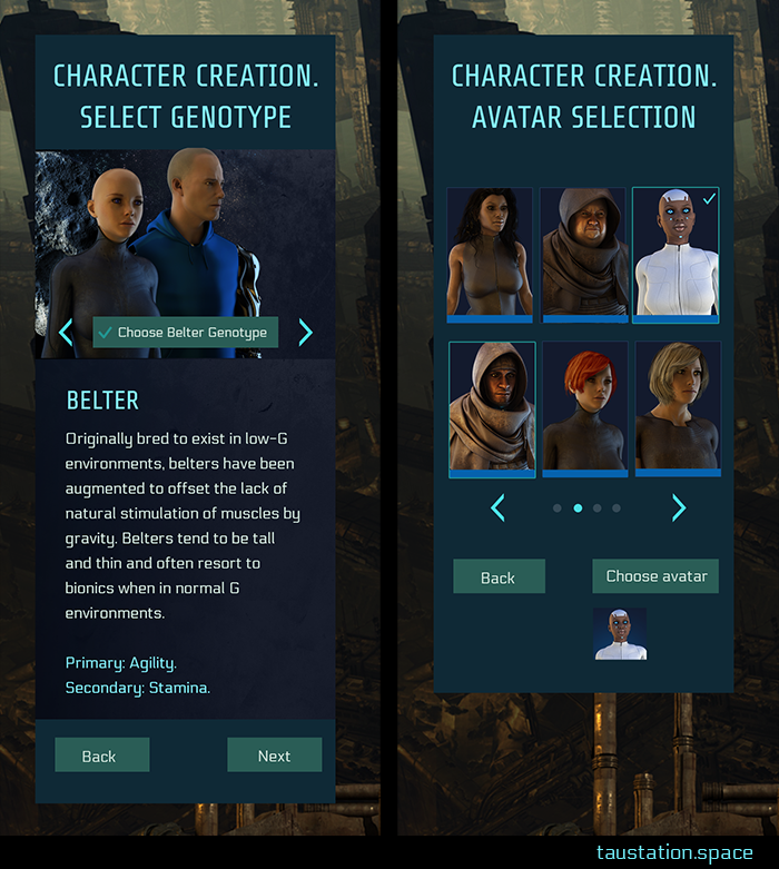 2 mobile UI screenshots: compared to the previous desktop versions. It's a slim design with different arrangement. Thus, the genotype selection shows the 2 exemplary characters first, the description and buttons below. The avatar selection shows 2 rows of 3 avatars each; buttons for scrolling and final selection are at the bottom.