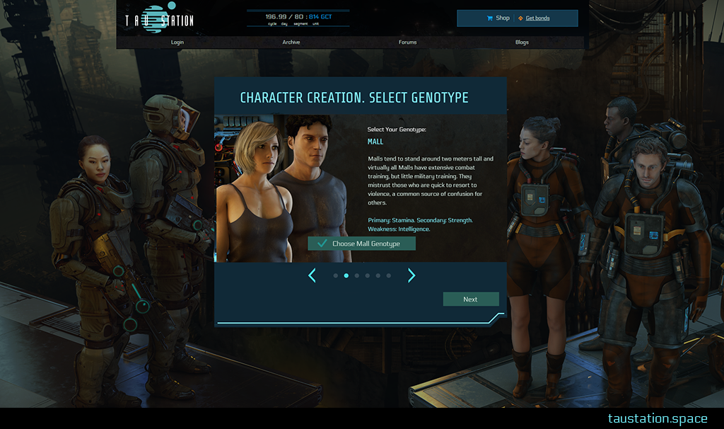 "Screenshot of character creation step ""select genotype"". An image on the left shows a female and male of the ""mall"" genotype with a description beside it highlighting these genotypes' strengths and weakness. Below there are buttons to ""choose mall genotype"" or to change it to another type."