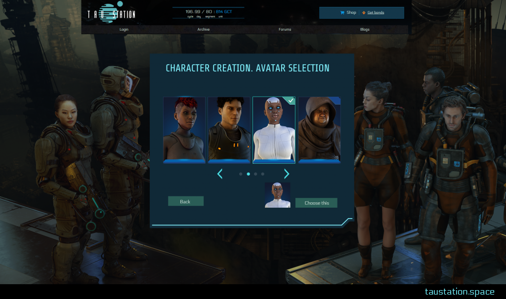 Avatar selection UI, showing 4 characters (2 female, 2 male), a black female dressed in white with and shiny blue eyes is selected. There are buttons to slide back and forth to further images and a button to finalize this choice.