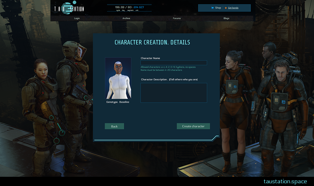 The UI of step 3 shows the female avatar that was selected before on the left side. On the right side there are 2 text boxes. The upper (small) one asks for character name a new players wants to use, the lower (bigger) one asks for an optional character description.