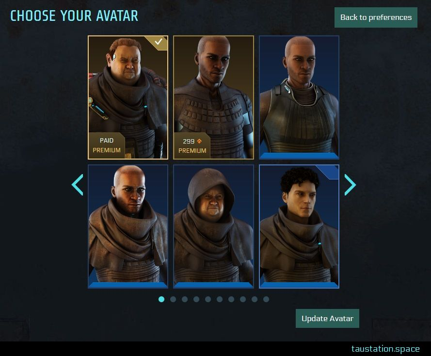 """UI snippet with 2 rows of 3 avatars each, with 2 premium versions. One indicates """"paid premium"""" while the other male premium picture shows the price of 299 bonds. On the upper right, there is a button """"back to preferences"""", navigation arrows to move back or forth to the next avatar page are next to the block of 6 pictures. At the bottom, there is a button to """"update avatar""""."""