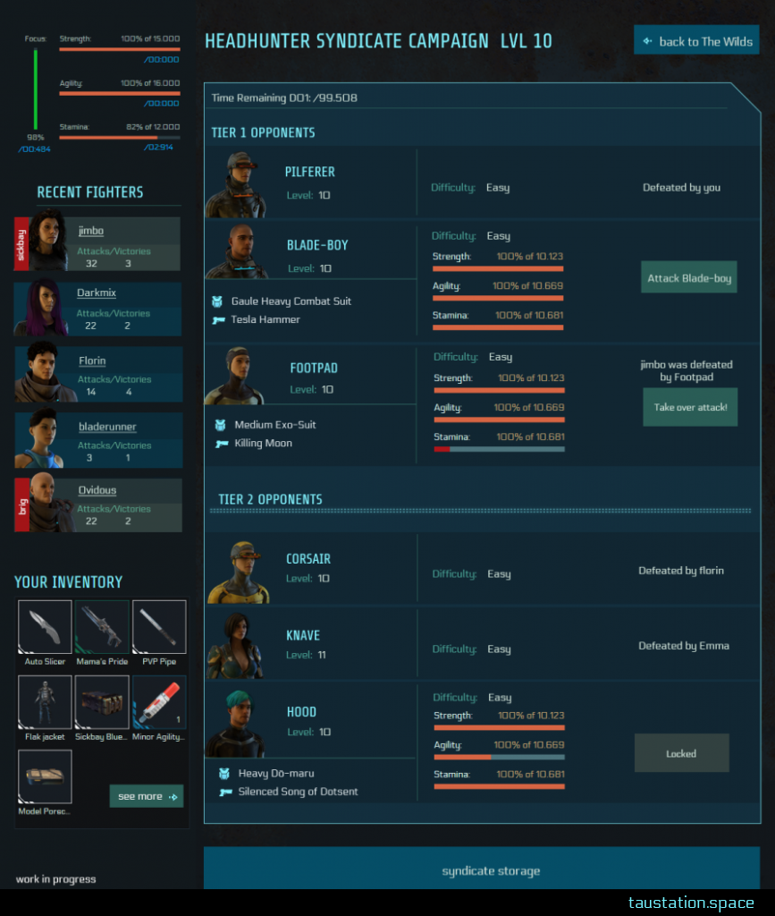 The UI shows your stats on the upper left, below recent fighters of your syndicate are listed with their avatars and stats about attacks and wins. Below this, your inventory is listed. The major part of the UI takes like 75% of the screen: Opponents are listed in several rows, grouped by tiers. Results, respectively, options like attack are on the right of every enemy line.