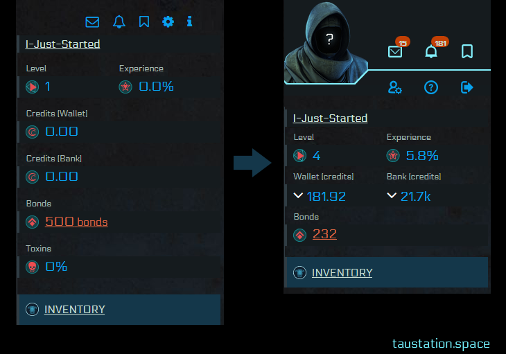 On the left, the old UI is shown without avatar, single rows for each credit information. In the right, the new compact UI showing the avatar, but still more compact/smaller.