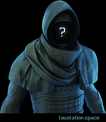 A person without a face, wearing a grey to blueish robe with some piece of cloth wrapped around the neck, lying on the shoulders, creating a hood. The hood is empty, instead of a face a white question mark is shown.